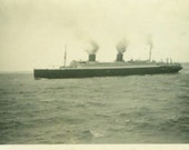 Antique Steam Ship Ocean Liner Boat Cruise Ship Photograph Black and White Photo Sailing Steamer