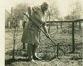 Garden Granny Old Woman Shovel Shoveling Dirt Plant Garden Gardening Fence Yard Midwestern Apron Lady Photo