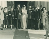 Vintage Wedding Photo 1930s 1940s Bride Groom Veil Dress Bouquet Church Steps Photograph Black White