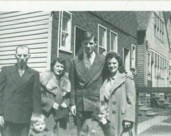 Vintage 1940s Family Photo Dressed in Sunday Best Fur Collar Coat 2 Little Boys Husband Wife Grandma Grandpa Photograph