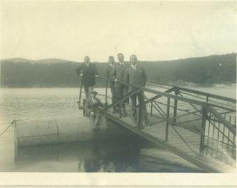 Vintage 1920s Photo Men Standing Sitting on Boat Dock on Lake 1928 Floating Barrel Wooden Dock Europe European