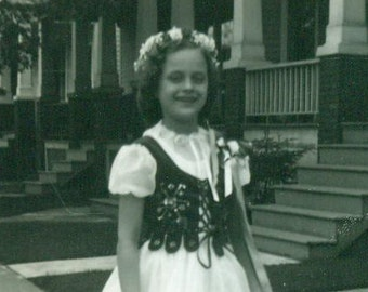 Vintage 1959 Photo Girl in Ethnic May Day Dress With Flower Wreath Crown in Hair Traditional Outfit Costume 1950s Photo Photograph