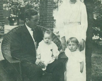 Vintage 1920s Family Portrait Real Photo Postcard Husband Wife Kids Wicker Chair Palm Tree Viola Anderson Photograph