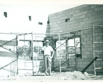 Vintage 1961 Photo Happy Man Building Construction Cinder Block Wall Scaffolding Summer 1960s Photograph