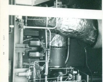 Vintage 1965 Photo Industrial Building Machine Black and White Photograph Steampunk Technical