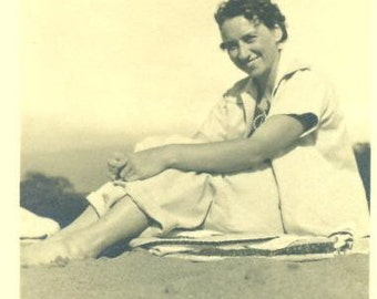 Allie Sitting on the Beach in Hawaii 1939 Photo Young Woman Hawaiian Vacation Black and White Photograph