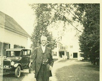 Model T Ford Old Man Suit Pocket Watch Farm House Vintage Photo Black White Photograph 1920s Car Grandfather