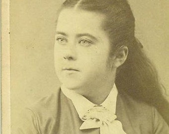 Antique CDV Fancy Boston Strong Victorian Young Woman Long Black Diar Sure Headstrong Photo Photograph 1880s New England