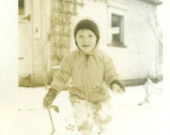 Playing in the Snow Winter Fun Little Boy Holding Shovel 1920s 1930s Photo Snowsuit Wool Coat Pants Hat Bundled Up Photograph