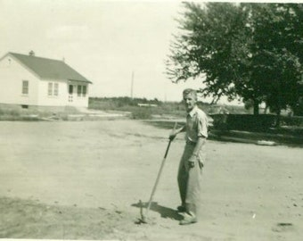 Street Cleaner Deluxe Midwestern Farmer Farm Man Pick Hoe Removing Rocks from Dirt Road White House Summer Hard Work Photograph Photo