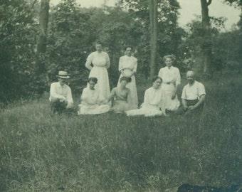 Antique Summer Meadow Forest Photo Sitting Women Corset Waist Dresses Men Woods Outside Photograph