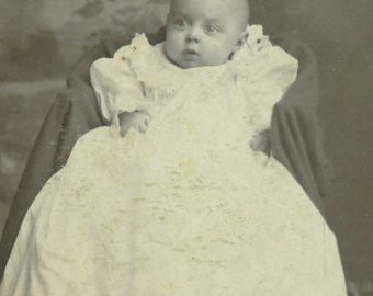 Kinston NC Antique Baby Photo Parker Studio Cabinet Card Photograph Long White Christening Gown Dress North Carolina