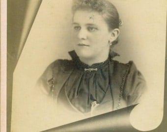 Allentown PA Victorian Woman Cabinet Card Studio Portrait Antique Photograph Photo 1890s Pennsylvania Earrings High Collar Curled Hair