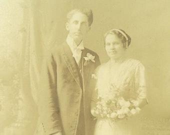 Antique Wedding Bride Groom Studio Portrait Photograph White Wedding Dress Flower Bouquet Husband Wife Standing Photo