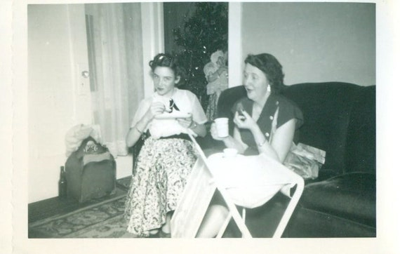 Vintage Early 1960s Christmas Party Photo 2 Women Eating Talking Hidden Beer Bottle TV Tray Tree