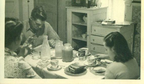 Vintage 1940s Photo Farm Family Kitchen Robertsons At