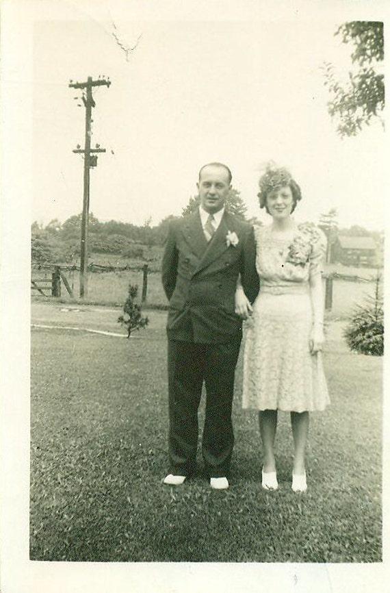 Vintage 1940 Wedding Day Photo Bride Best Dress Floral Hat Standing Outside Gindlesperger Photograph
