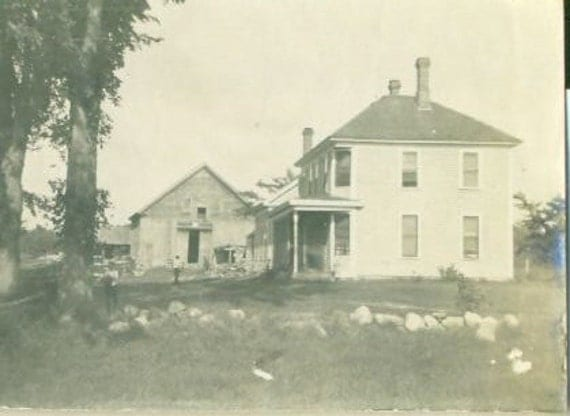 Antique Farm House and Barn Photograph Summer Day Boys Walking Working in Yard Vintage Photo New England