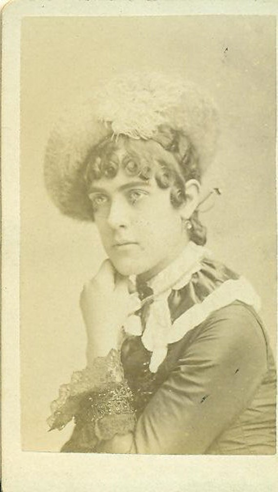 Antique 1880s CDV Flashy Dress Feather Hat Ruffle Collar Hair Curls Victorian Young Woman Vintage Studio Portrait Photograph