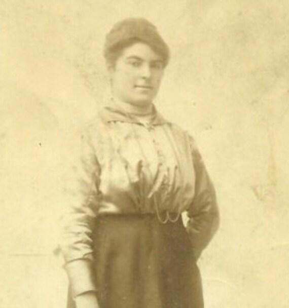 Practical Woman Flower Bouquet Antique RPPC Studio Portrait Photograph Standing Skirt Blouse Buckle Boots Necklace Photo