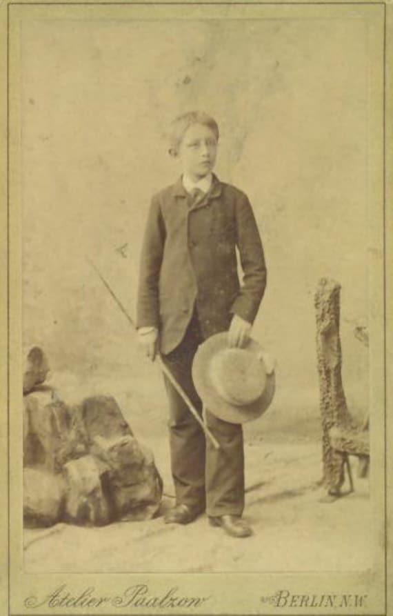 Berlin Germany Boy Walking Stick Straw Hat Antique 1880s CDV Wilderness Rocks Studio Portrait Photo Photograph