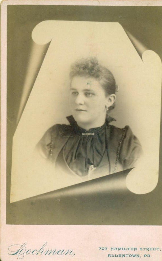 Allentown PA Victorian Woman Cabinet Card Studio Portrait Antique Photograph Photo 1890s Pennsylvania Earrings High Collar Curled Hair