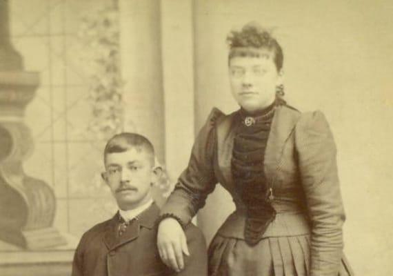 Allentown PA Victorian Husband Wife Couple Man Woman Pleated Waist Dress Book Cabinet Card Studio Portrait Antique Photograph Photo