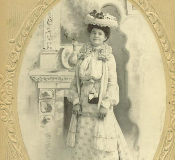 Elegant Wealthy Victorian Lady Best Hat Bustle Train Dress Oval Cabinet Card Studio Portrait Antique Photograph Photo Edwardian