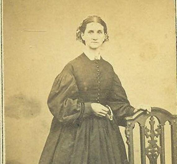 Poughkeepsie NY Civil War 1860s Woman Standing in Black Dress CDV Antique Studio Portrait With 2 Cent Revenue Tax Stamp Photo Photograph