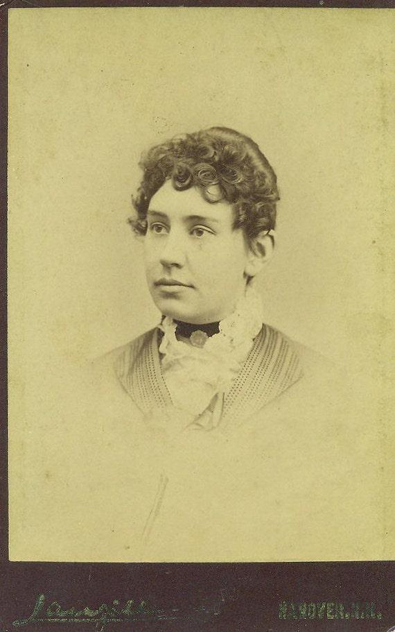 Hanover NH Woman Victorian Fashion Cabinet Card Studio Portrait Antique Photograph Photo New Hampshire New England
