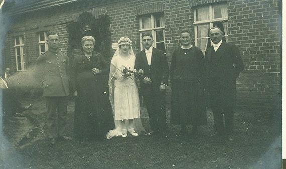 Vintage 1926 German Wedding Photo Husband Wife Wedding Dress Long Veil Military Officer Uniform German Shepard Dog RPPC 1920s Germany