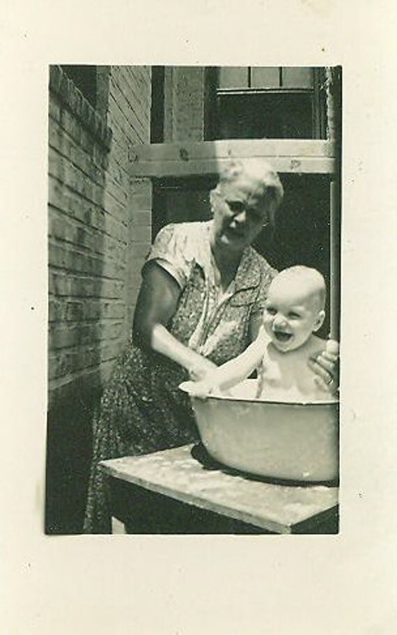 1940s Baby Bath Photo With Grandma Outside in Metal Wash Basin Summer Day Infant Grandmother