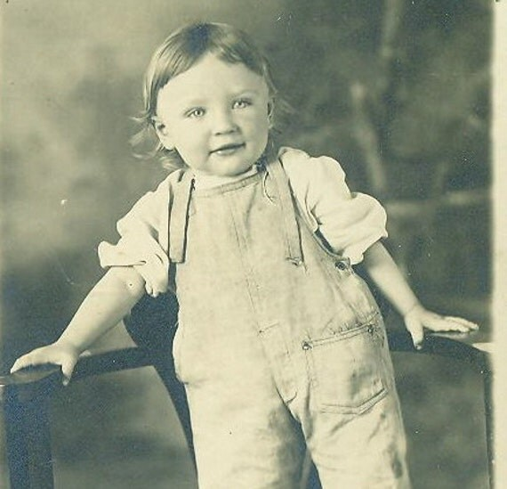 Saginaw MI Howard Clarence 1912 Adorable Toddler Baby Boy RPPC Real Photo Postcard Standing On Chair Overalls Hair Curls