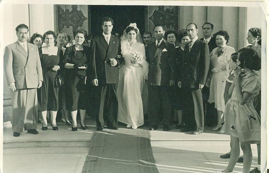 Vintage Wedding Photo 1930s 1940s Bride Groom Veil Dress
