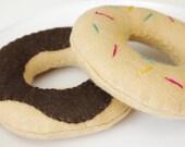 Felt Food- 2 Doughnuts-play food-dessert-Childrens toys-Kitchen toys-Soft Toys-Play kitchen toys-Toddler toys-Felt Toys-Toy food
