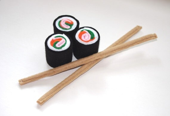Felt Food-Play food-3 Sushi Rolls and 2 Chop Sticks-Featured in LUCKY Kids Magazine-Childrens toys-Soft Toys-Play kitchen-Felt Toys