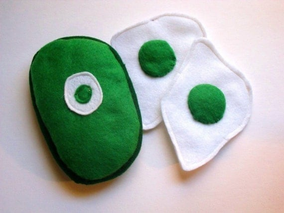 Felt Food-Green Eggs and Ham-Dr Suess book-Childrens toys-Kitchen toys-Soft Toys-Play kitchen toys-Play Food-Toddler toys-Felt Toys-Toy food