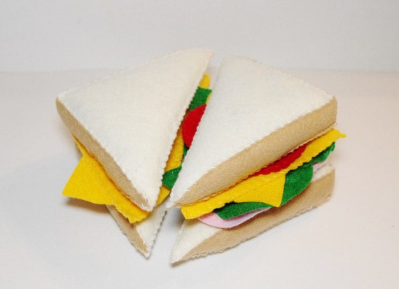 Felt Food-Play food-Ham Sandwich Half and Grilled Cheese Half-Felt toys-soft toys-play kitchen toys-toy food-toddler toys