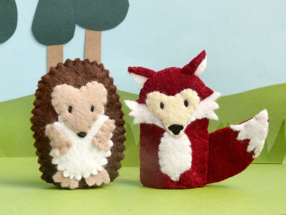 Woodland Animal Pair - Hedgehog and Fox Finger Puppets