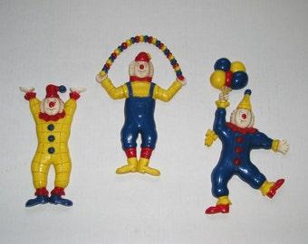 Vintage Clowns Wall Hangings, Set of 3