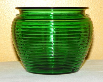 "Emerald or Forest Green Glass Ribbed Planter - MEDIUM 6 3/4"" Wide by 4 7/8"" High, Herb Garden, Utencil Holder by the Stove, Brushes, Soaps"