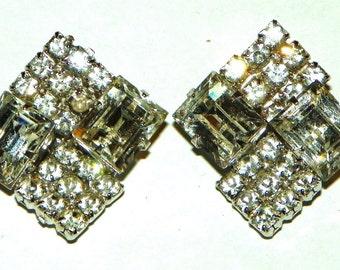 Vintage Square Rhinestone Clip Earrings