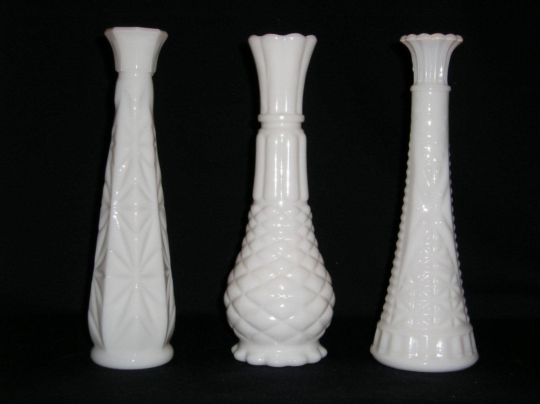 vintage white milk glass vases set of three different designs. Black Bedroom Furniture Sets. Home Design Ideas