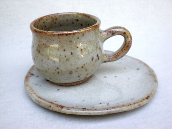 White Shino Cup and Saucer