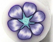 Polymer Clay Flower, Cane, Raw, Unbaked, Purple and Turquoise with Translucent Background