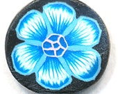 Polymer Clay Flower Cane, Turquoise Flower, Raw, Unbaked Clay, Black Background