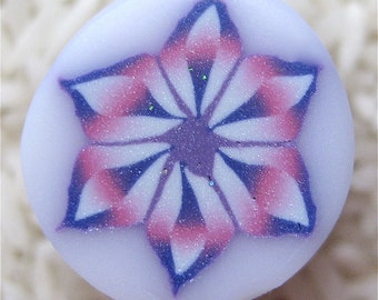 Polymer Clay Cane, Raw, Unbaked, Pastel Purple Rainbow Flower with Translucent Background