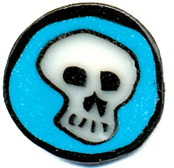 Polymer Clay Cane, Skull with Teal Background