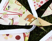 Pink, Pale Green and Yellow Woodland Creatures Bunting Banner