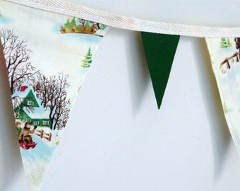 Vintage Inspired Christmas Bunting Banner